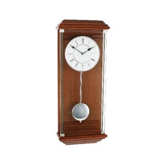 Wm Widdop Modern Walnut & Silver Pendulum Wall Clock Thumbnail 1