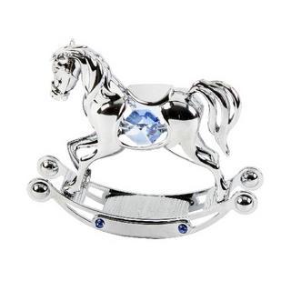 Crystocraft Swarovski Cyrstal Elements Gift - Silver Plated Rocking Horse Thumbnail 1