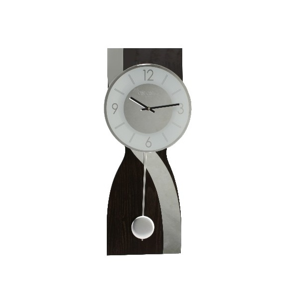 Wm Widdop Wbl Contemporary Brown Mirror Wave Pendulum Wall Clock Ebay