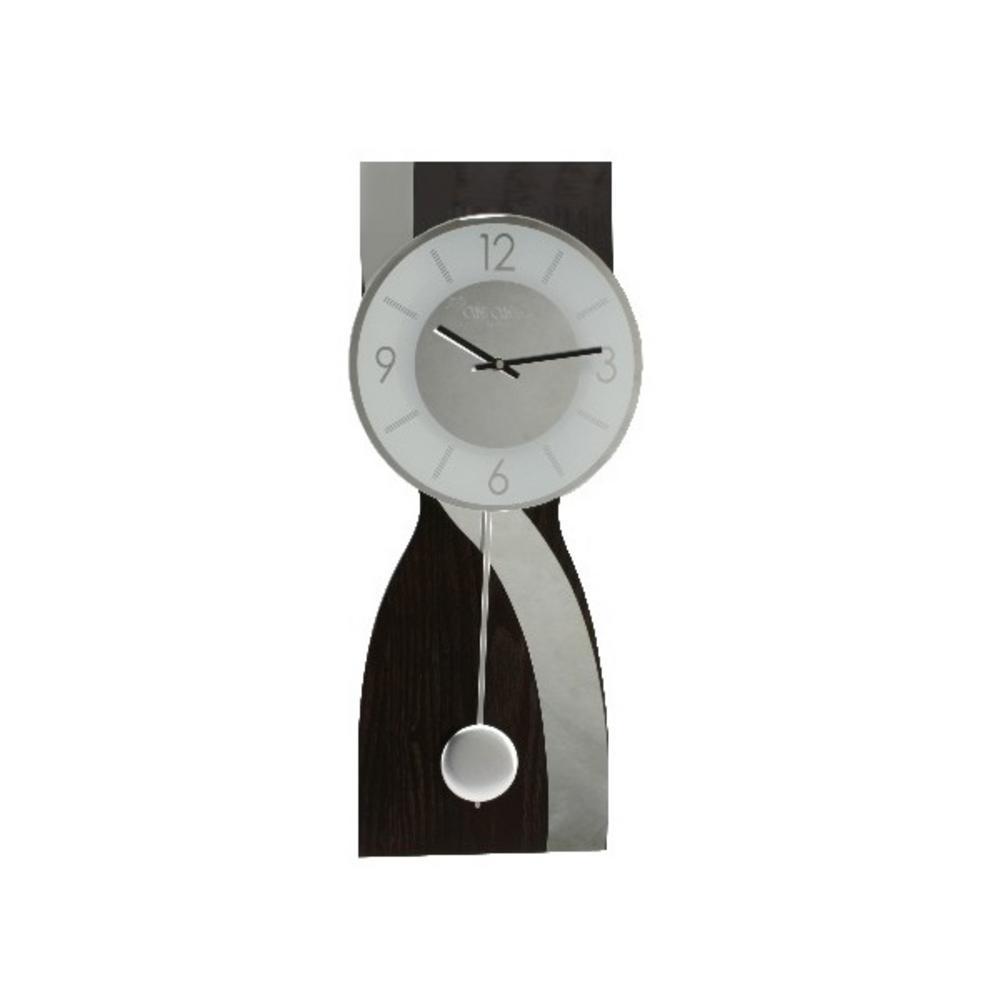 Wm Widdop Wbl Contemporary Brown Mirror Wave Pendulum Wall Clock