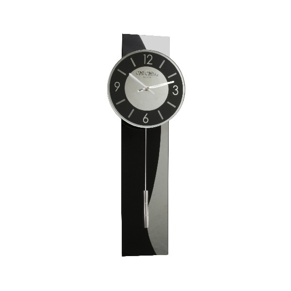 Wm Widdop Black Glass Silver Stripe Contemporary Modern Pendulum Wall Clock Ebay