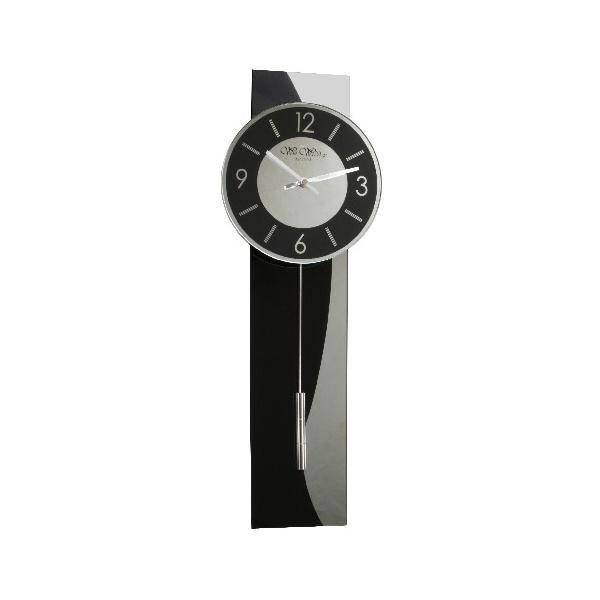 Wm widdop black glass silver stripe contemporary modern pendulum wall clock ebay - Contemporary pendulum wall clocks ...