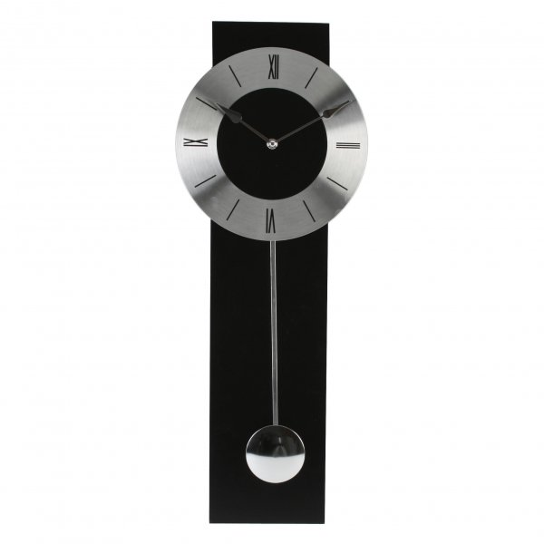 Wm Widdop Black And Silver Modern Pendulum Wall Clock Ebay