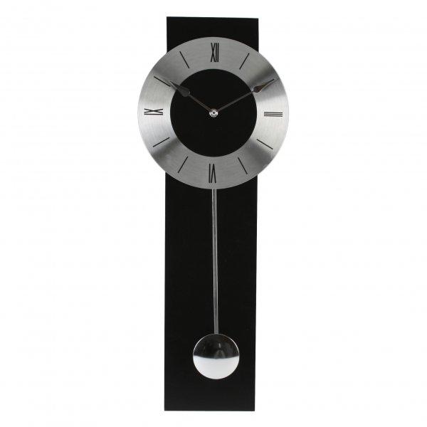 Wm widdop black and silver modern pendulum wall clock ebay - Contemporary pendulum wall clocks ...