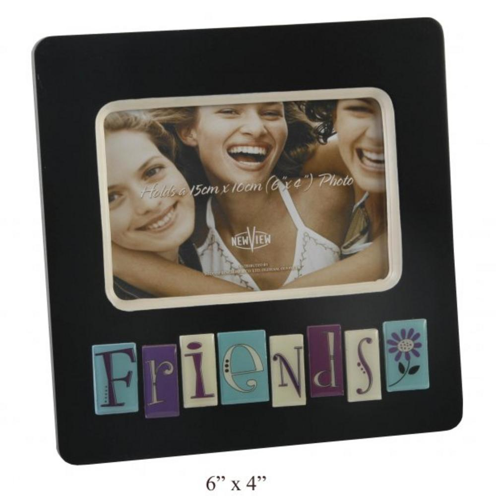 """New View Contemporary """"Friends"""" Black Tile Picture Photo Frame 6"""" X 4"""""""