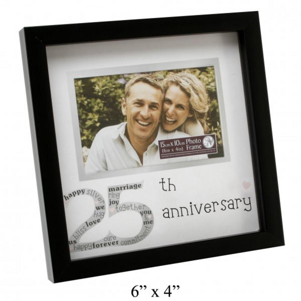 "New View Contemporary 25Th Wedding Anniversary Picture Photo Frame 6"" X 4"""