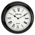 HOMETIME BLACK WALL CLOCK WITH CREAM ROMAN DIAL FACE IN STATION CLOCK DESIGN