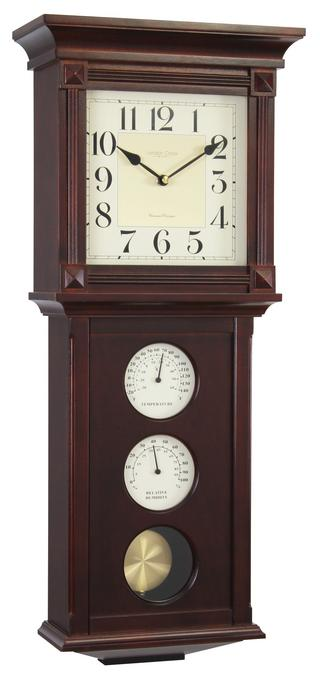 London Clock Company Westminster Thermo / Hygro Pendulum Wall Clock Thumbnail 1