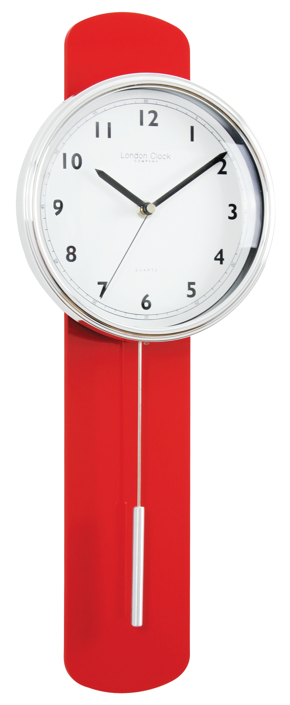 London Clock Company Red Finish Contemporary Pendulum Wall Clock Discount Homeware And Giftware