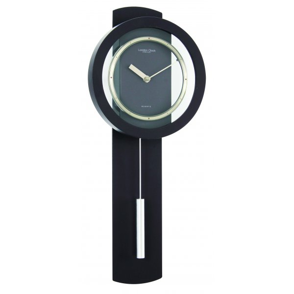 London Clock Company Black Matt Finish Contemporary Modern Pendulum Wall Clock Ebay