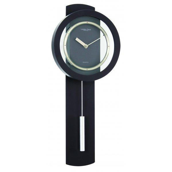London clock company black matt finish contemporary modern pendulum wall clock ebay - Contemporary pendulum wall clock ...
