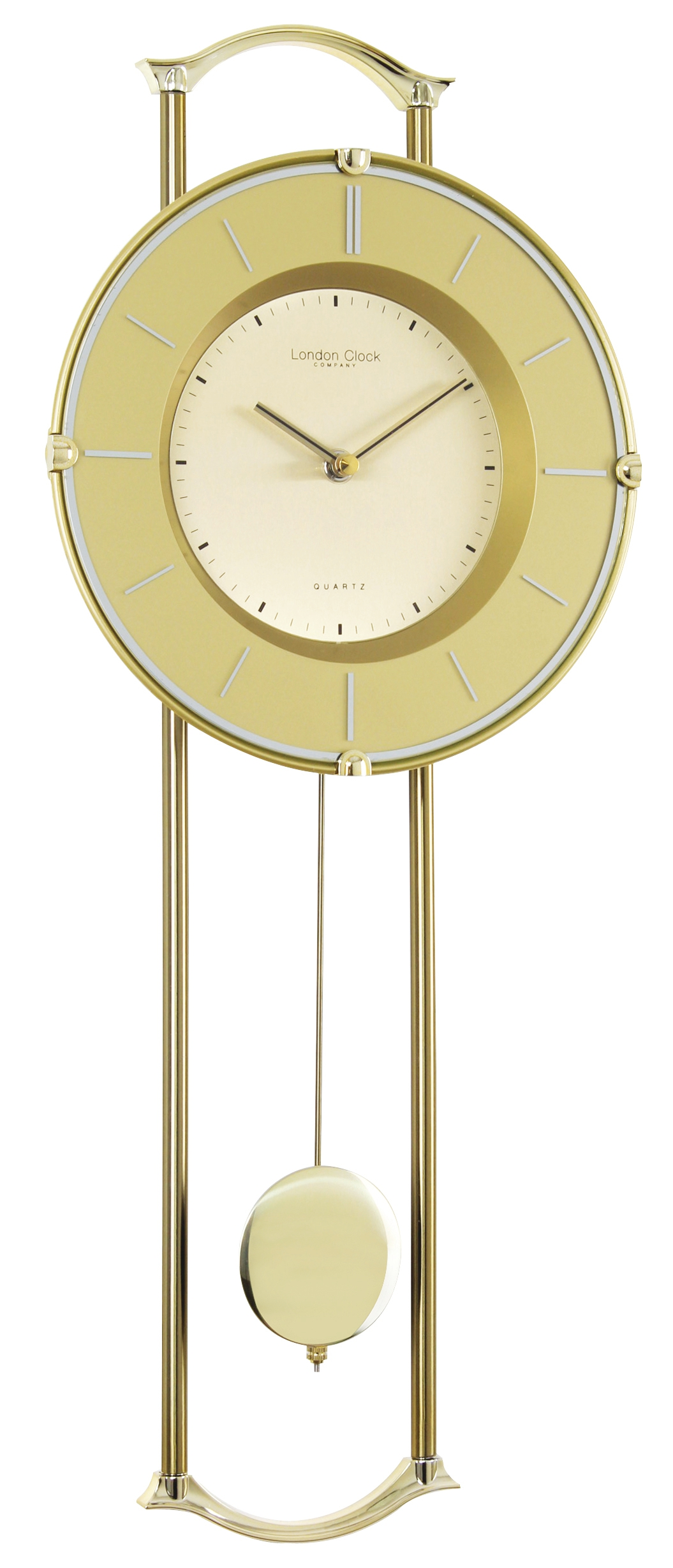 London clock company gold finish contemporary pendulum wall clock ebay - Contemporary wall clocks with pendulum ...