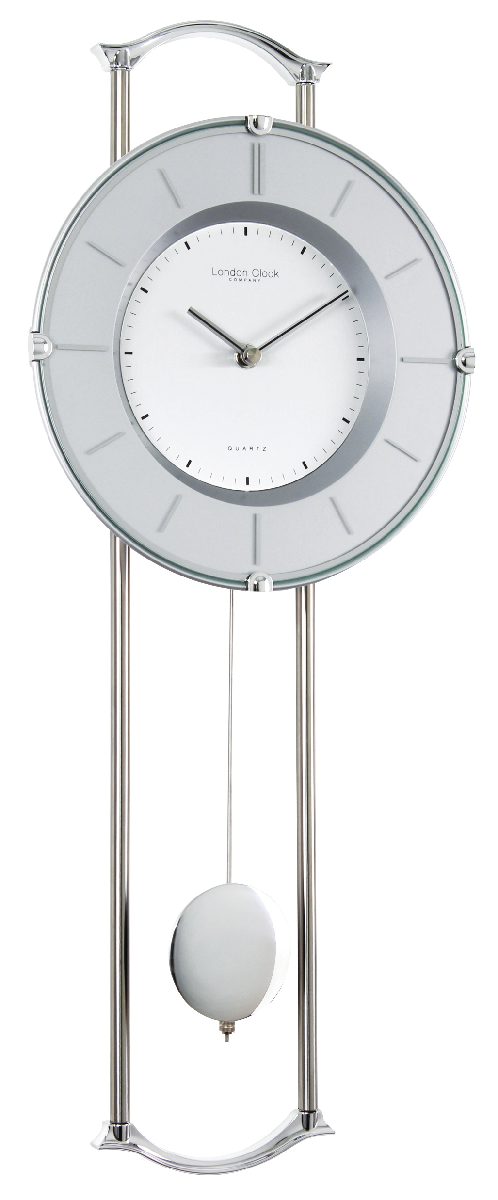 London Clock Company Silver Chrome Finish Contemporary Pendulum Wall Clock Ebay