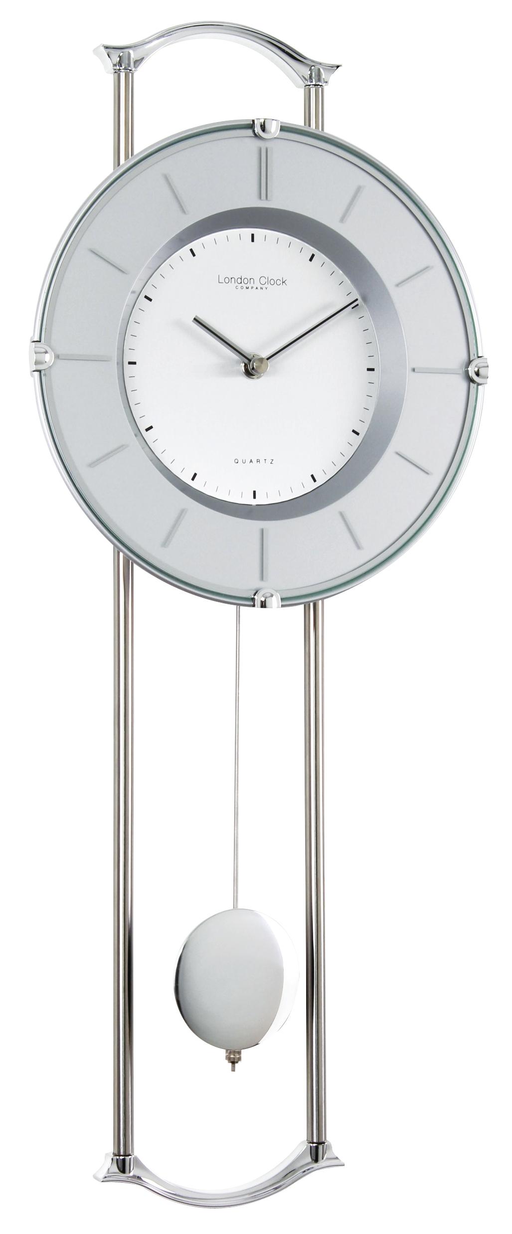 London clock company silver chrome finish contemporary pendulum wall clock ebay - Contemporary pendulum wall clocks ...