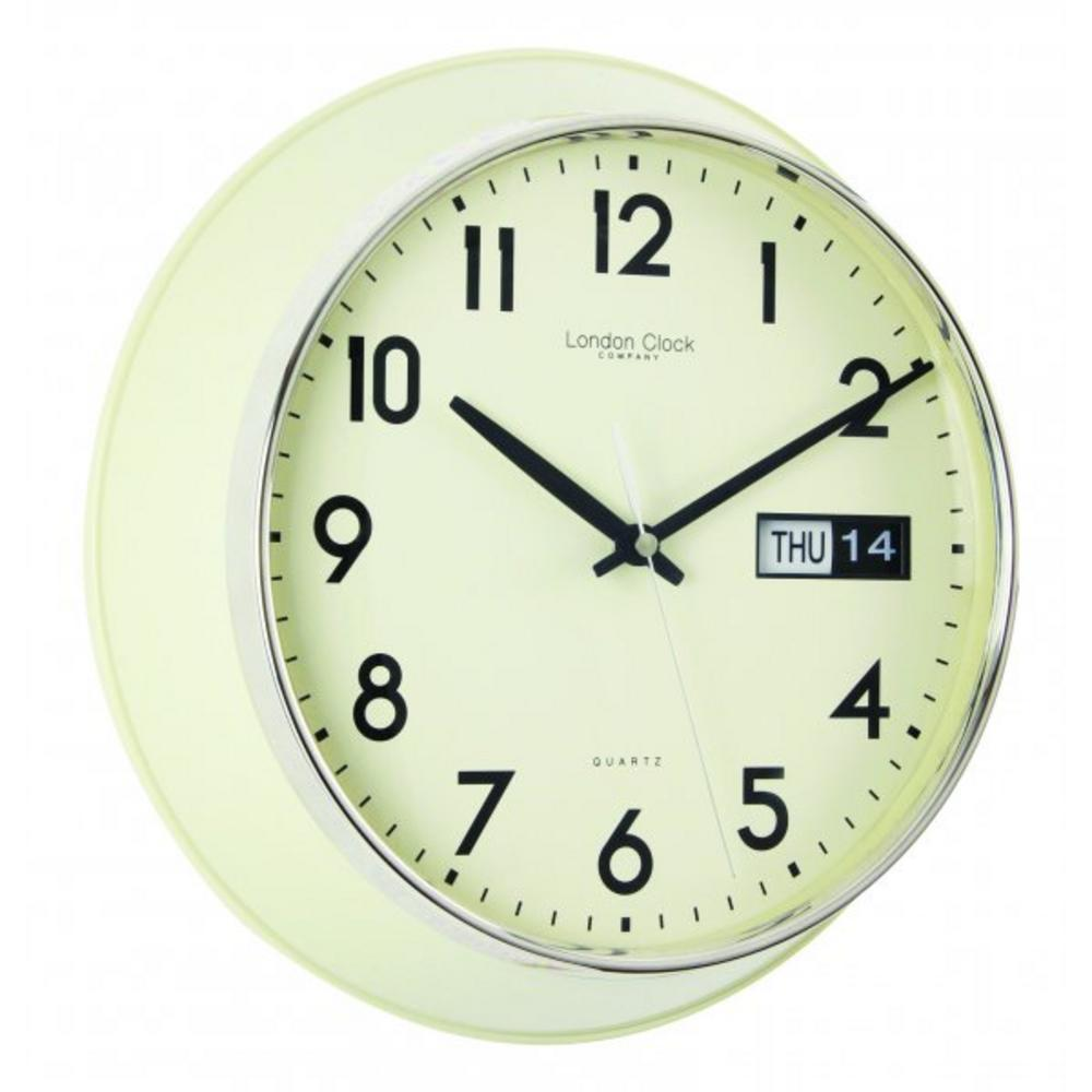 Cream Day Date Station Clock