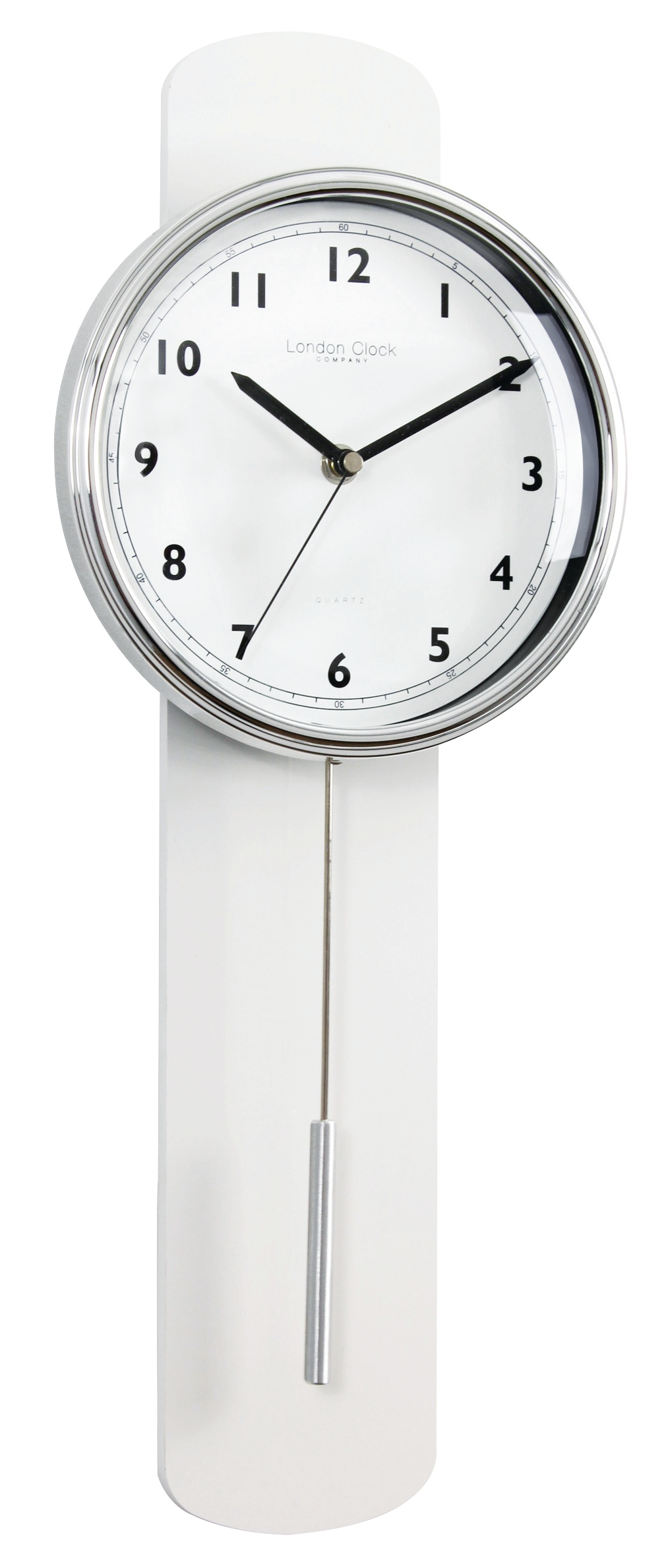 London clock company white finish contemporary pendulum wall clock discount homeware and giftware - Contemporary wall clocks with pendulum ...