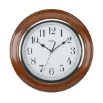 "WBL 10"" MAHOGANY / CHROME TRADITIONAL ARABIC DIAL WALL CLOCK 26CM DIAMETER"