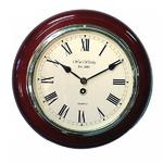 Wm. Widdop Shiny Polished Mahogany Wooden Traditional Station Wall Clock 11.5""