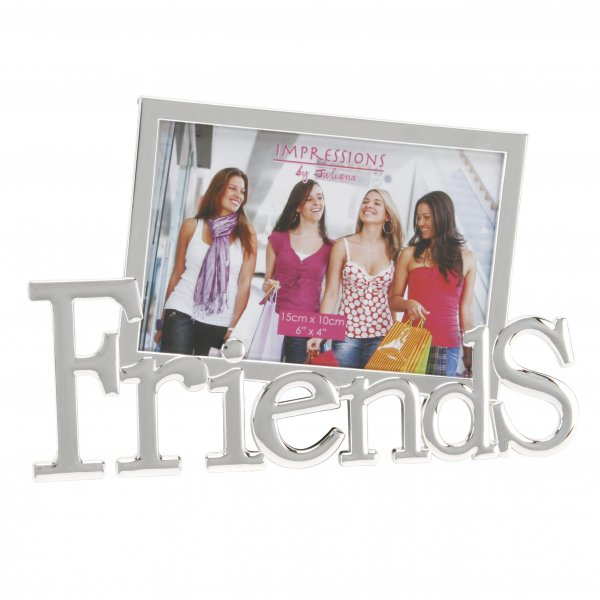 JULIANA SILVER PLATED TILTED WORD PICTURE PHOTO FRAME - 'FRIENDS' 6