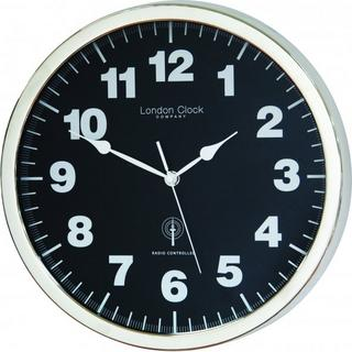 London Clock Company Radio Controlled Simple Black & Chrome Wall Clock Thumbnail 1
