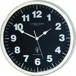 London Clock Company Radio Controlled Simple Black & Chrome Wall Clock
