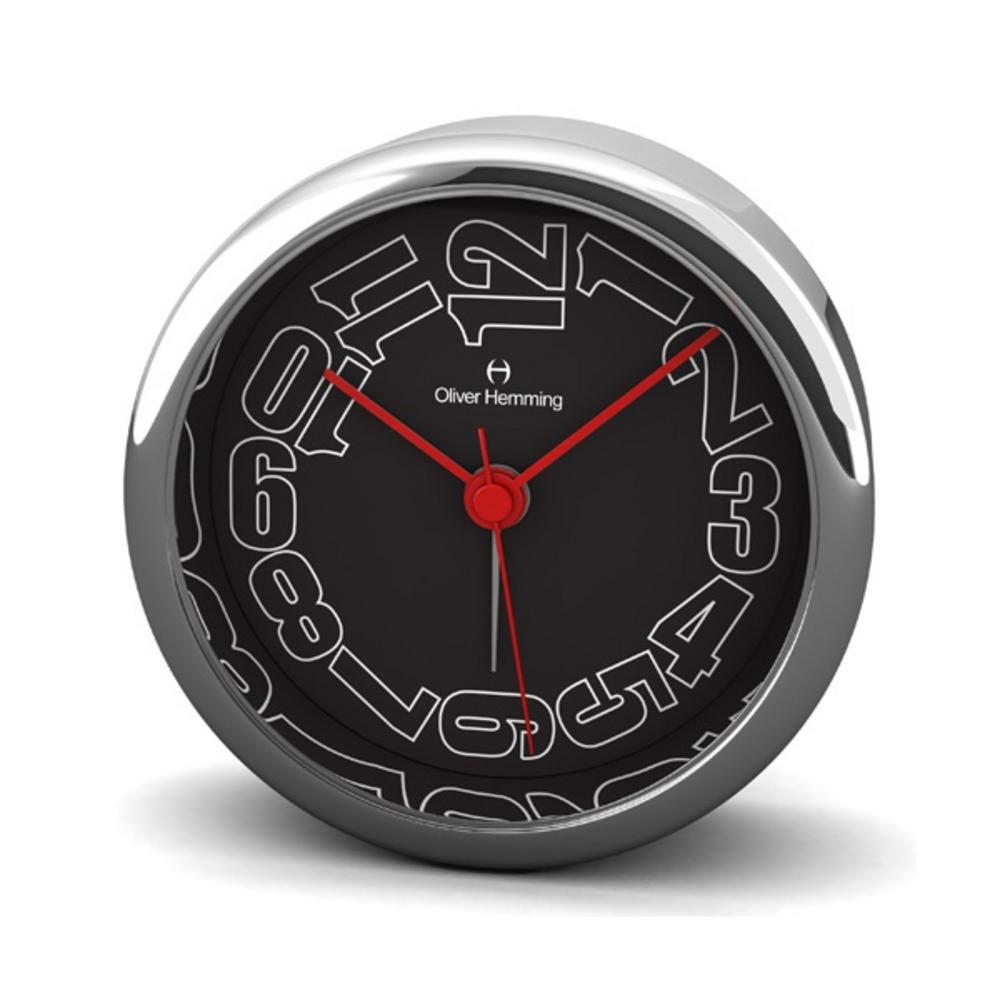 Oliver Hemming 8Cm Chrome Alloy Contemporary Desire Silent Side Alarm Clock