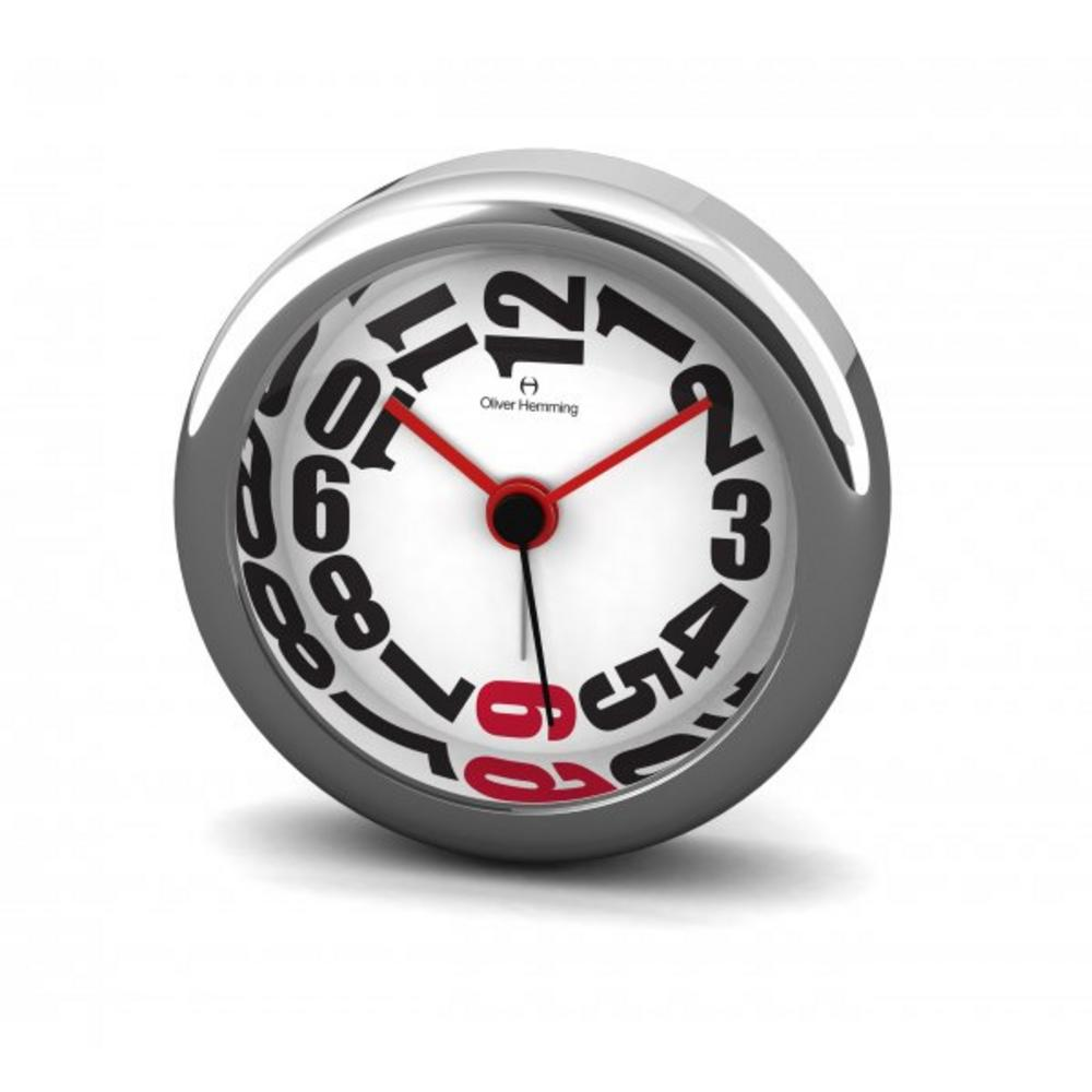 Oliver Hemming 6Cm Chrome Alloy Contemporary Desire Silent Red Six Alarm Clock