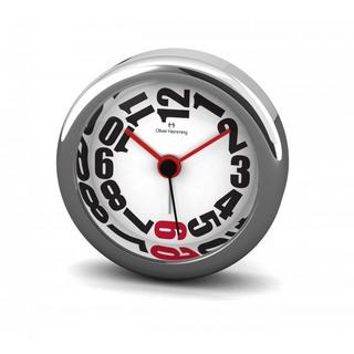 Oliver Hemming 6Cm Chrome Alloy Contemporary Desire Silent Red Six Alarm Clock Thumbnail 1