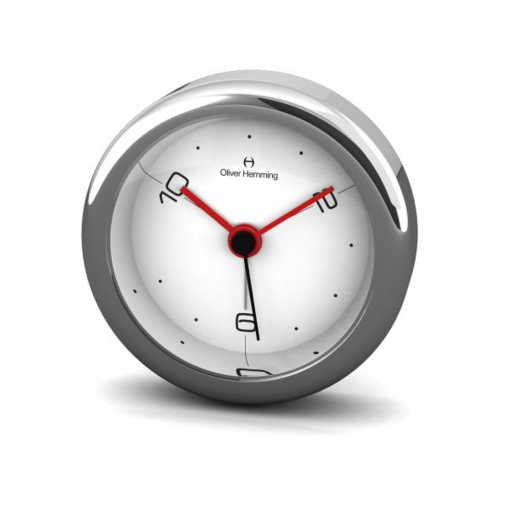 Oliver Hemming 6Cm Chrome Alloy Contemporary Desire Silent 10,2,6 Alarm Clock