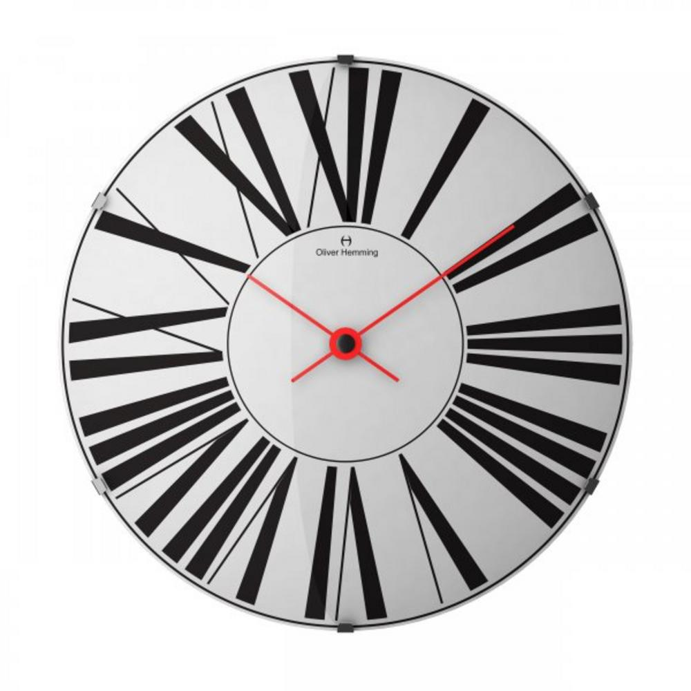 Oliver Hemming Domed Glass 37Cm Contemporary Design Roman Dial Wall Clock