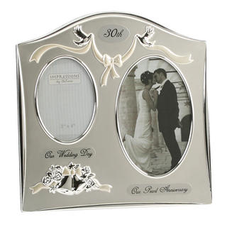 Juliana Silver Plated 30Th Pearl Wedding Anniversary Dual Picture Photo Frame Thumbnail 1