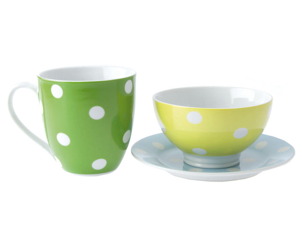 Pt Home Breakfast Tea & Coffee Cup, Plate And Bowl Set In Green