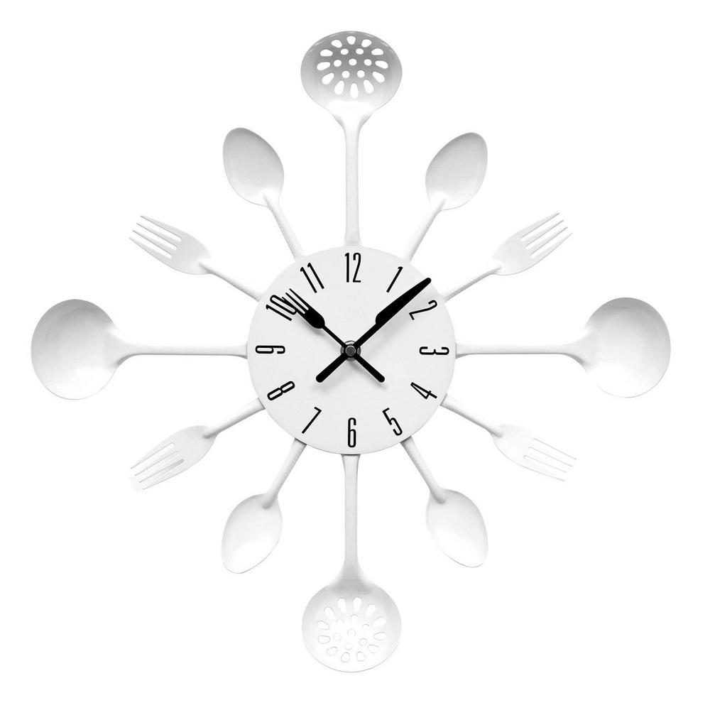 Black Kitchen Cutlery Clock