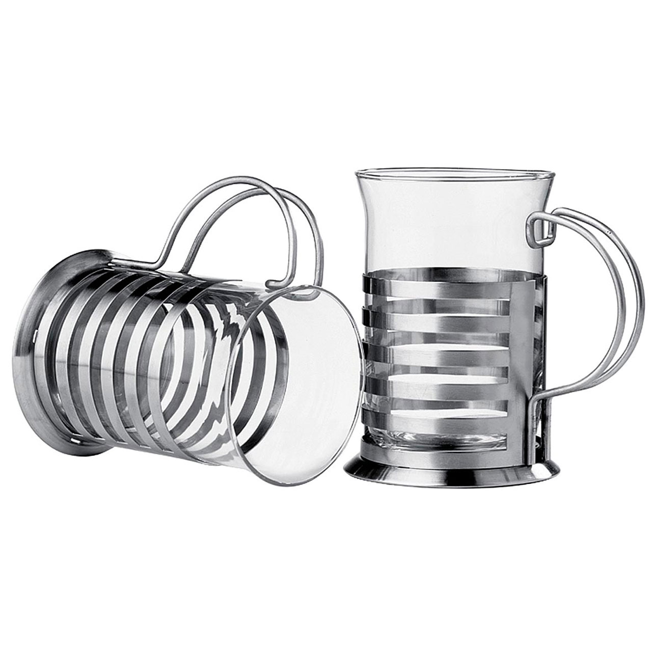 Premier Housewares Set Of 2 Large Stainless Steel Glass
