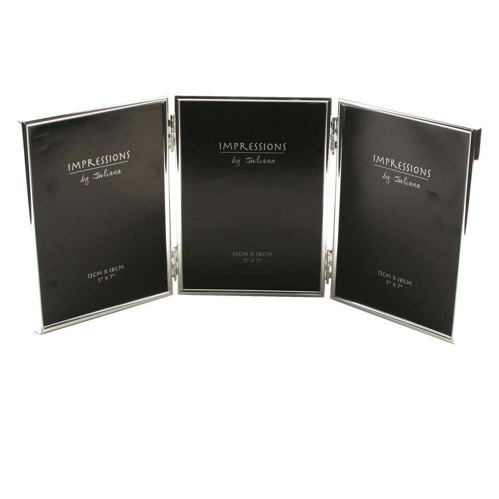 """Juliana Silver Plated Triple Picture Photo Frame Album 5"""" X 7"""""""