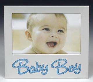 """Baby Boy Glitter Picture Photo Frame 6"""" X 4"""" By Shudehill Giftware Thumbnail 1"""