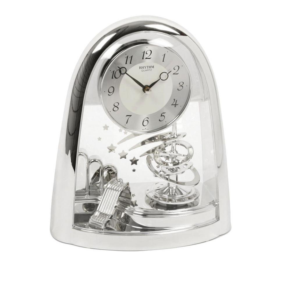 Rhythm Japan Arched Top Spiral Silver Pendulum Mantel Clock