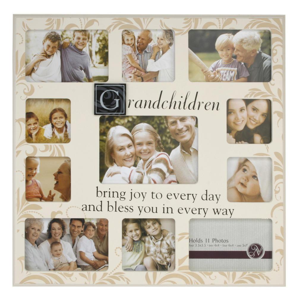 New View Collage Eleven Piece Aperature Grandchildren Photo Frame Cream Gift