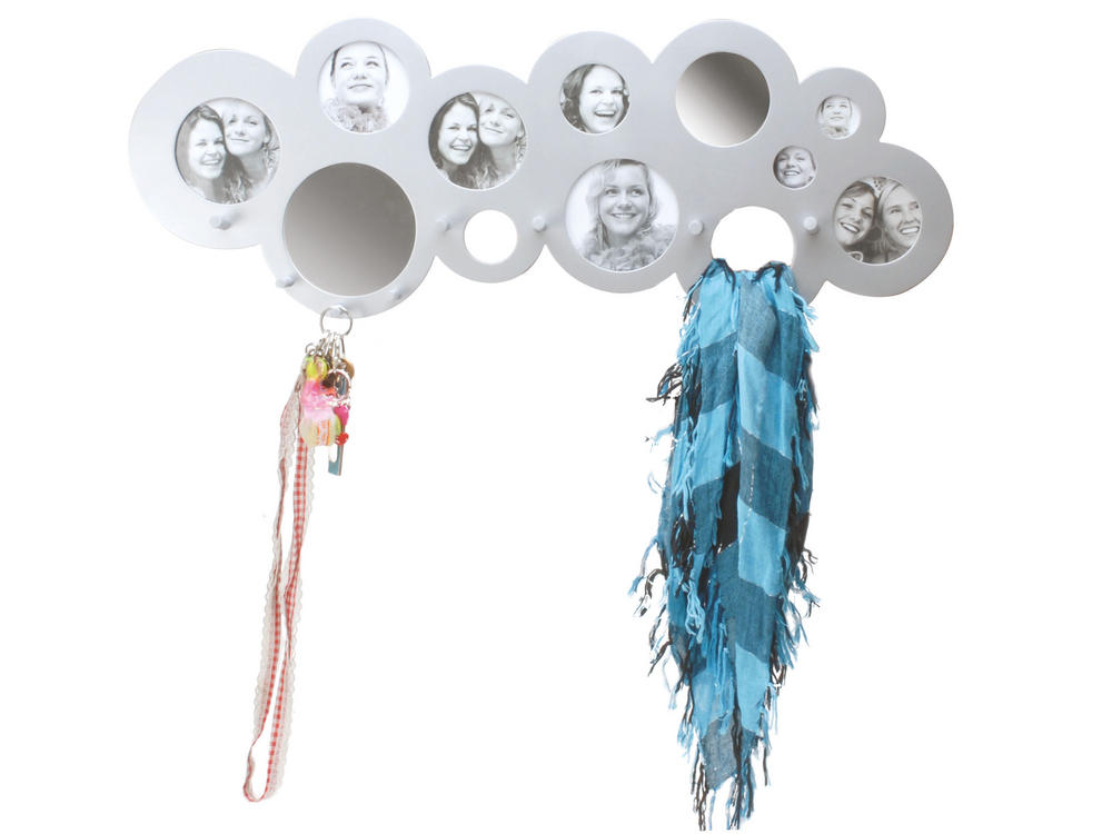 Pt Home Cloud Hat Coat Rack Holder Hanger With Mirror Picture Photo Frame Silver
