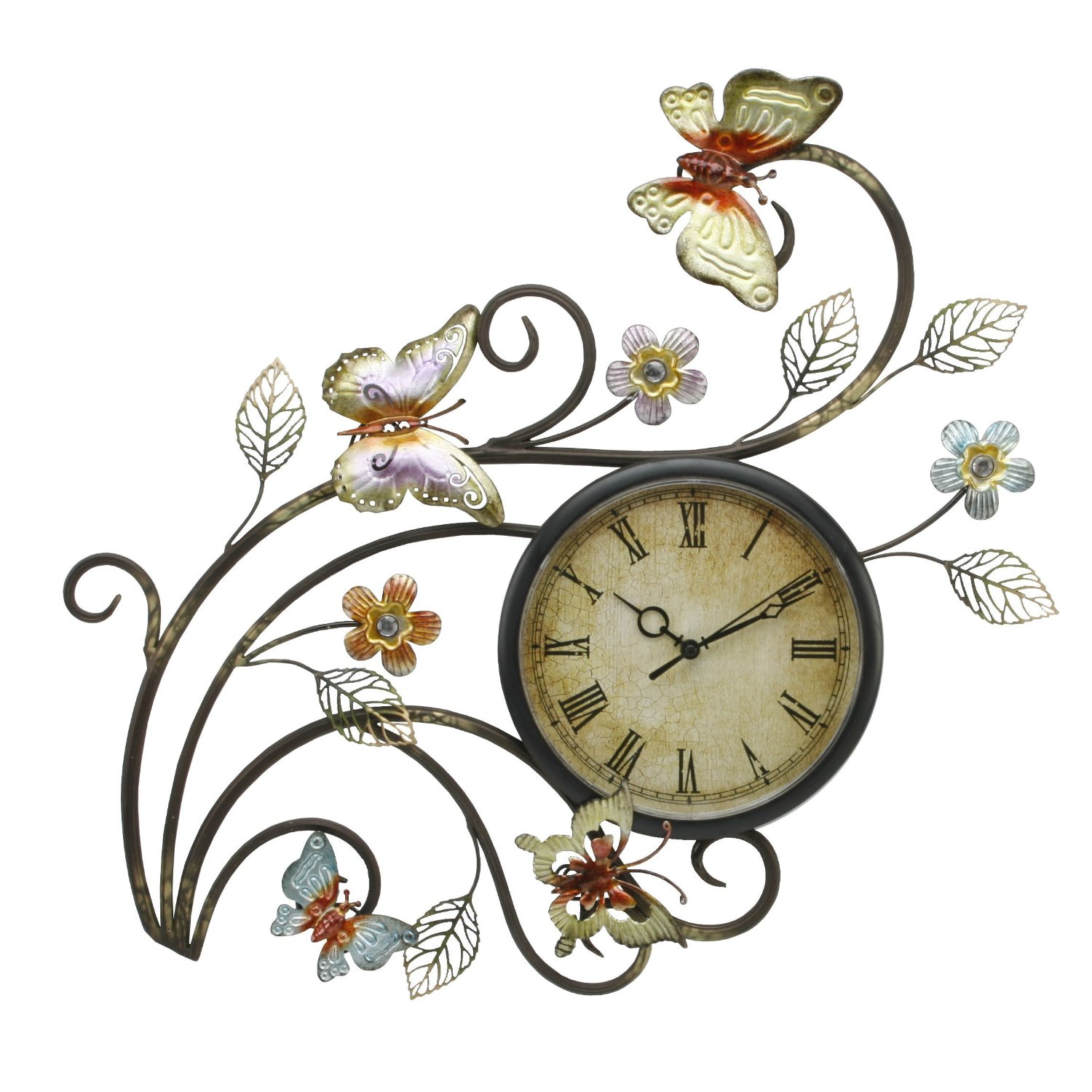 Wall Clock Artwork : Juliana home living contemporary metal butterfly wall