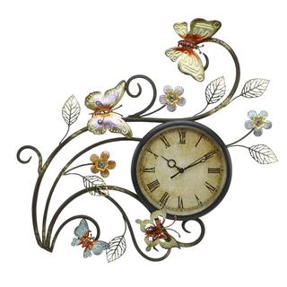 Juliana Home Living Contemporary Metal Butterfly Wall Clock Wall Art Thumbnail 1