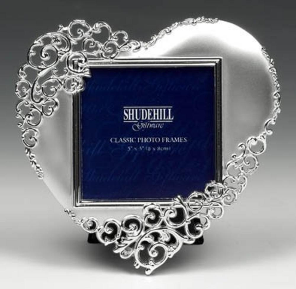 """Shudehill Giftware Satin Silver Lace Heart Picture Photo Frame - 3"""" X 3"""" Gift"""