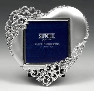 """Shudehill Giftware Satin Silver Lace Heart Picture Photo Frame - 3"""" X 3"""" Gift Thumbnail 1"""