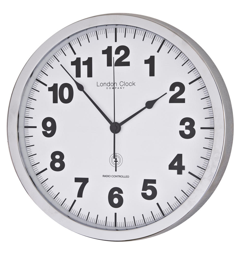 London Clock Company Radio Controlled Simple White & Chrome Wall Clock