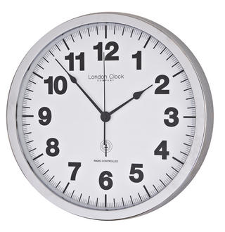 London Clock Company Radio Controlled Simple White & Chrome Wall Clock Thumbnail 1