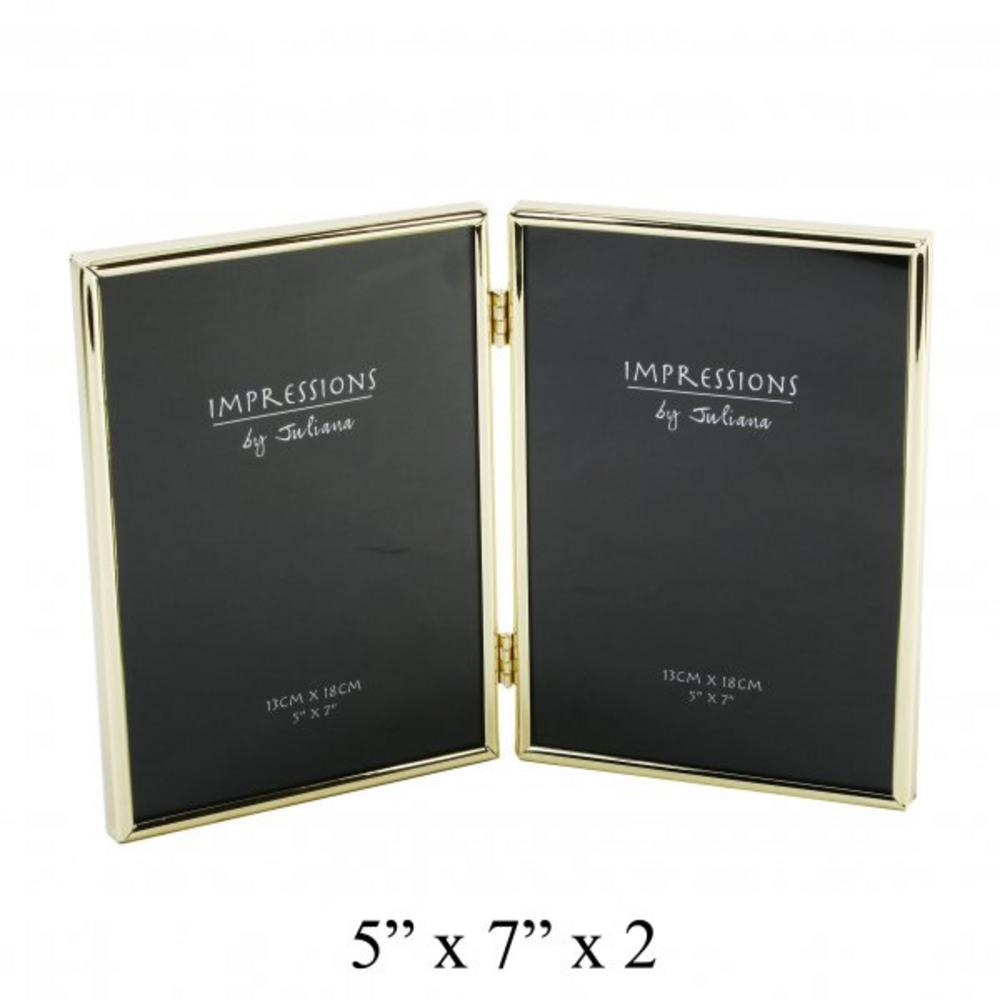 """Juliana Silver Plated Double Modern Picture Photo Frame 5"""" X 7"""""""