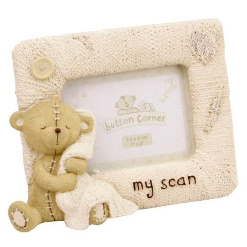 "Button Corner My Scan With Teddy Bear Resin Picture Photo Frame - 3"" X 2"""