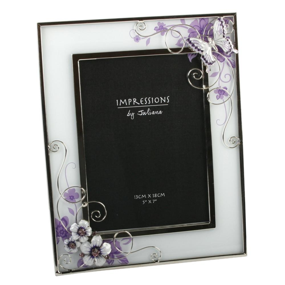 "Juliana Purple Glass Picture Photo Frame With Flowers And Butterfly 5"" X 7"""