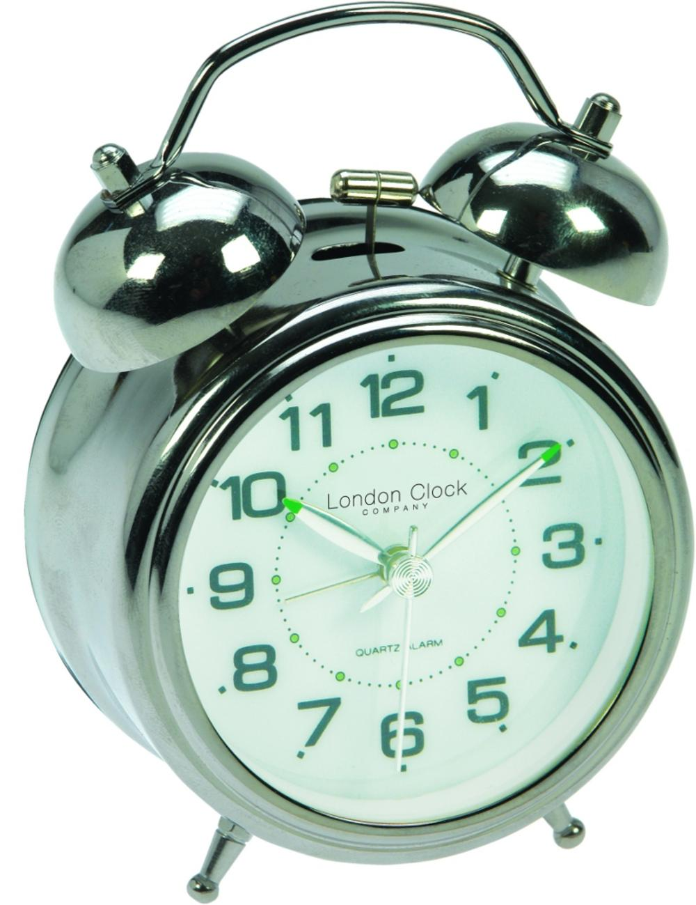 London Clock Company Sweep Movement Twin Bell Luminous Hands Alarm Clock