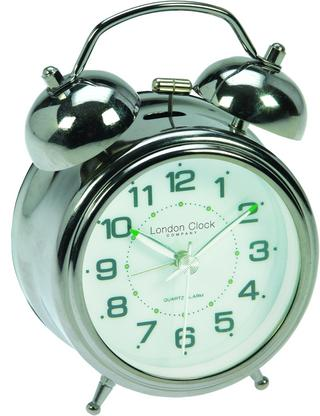 London Clock Company Sweep Movement Twin Bell Luminous Hands Alarm Clock Thumbnail 1